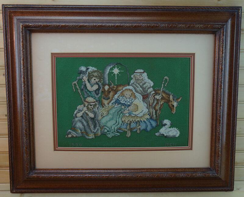 "Nativity Manger Jesus Cross-Stitch Completed & Framed, Tripple Mat, 21¾"" x 17¾"""