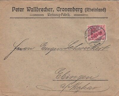 CRONENBERG, Briefumschlag 1905, Peter Wallbrecher Werkzeug-Fabrik