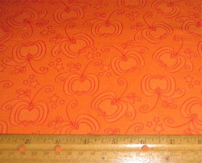 1 yard RED OUTLINE PUMPKINS and STARS on ORANGE 100% Cotton Fabric HALLOWEEN - Halloween Pumpkin Outline