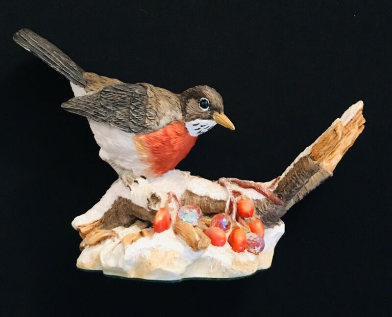 Robin on Branch/Berries Hand-Painted Figurine  #6103 - Made in England