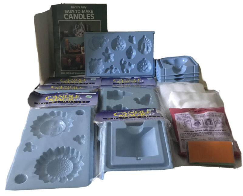 Lot of Candle Magic Candle Making Unused Molds Plus Wax, Decorations And Book