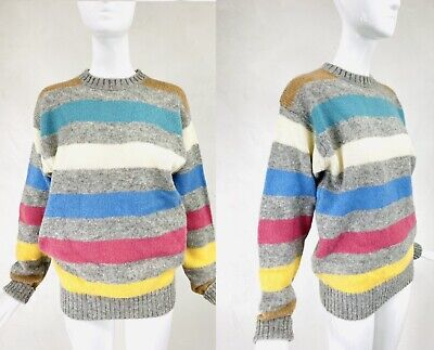 Vintage PRINGLE OF SCOTLAND Shetland Wool Rainbow Stripe Hong Kong Sweater, M/L