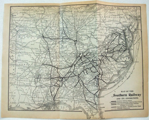 Southern Railway - Original 1912 System Map. Antique