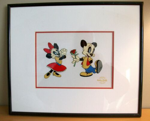 Andy Panda And Miranda Panda Walter Lantz Serigraph Cel Framed Ready To Display