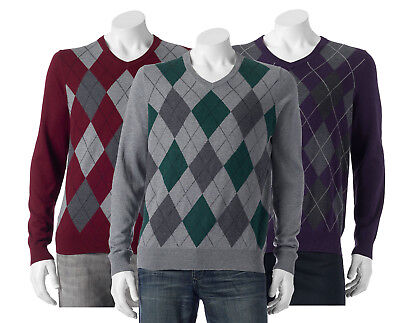 New Croft&Barrow Men's Classic-Fit Argyle V-Neck Sweater Various Colors MSRP $45