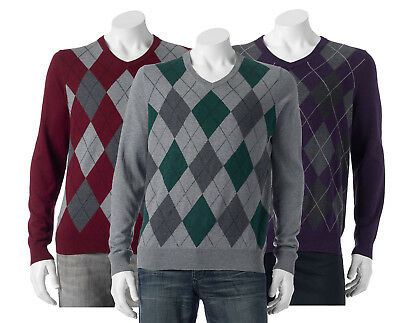 Mens Classic V-neck Sweater - New Croft&Barrow Men's Classic-Fit Argyle V-Neck Sweater Various Colors MSRP $45