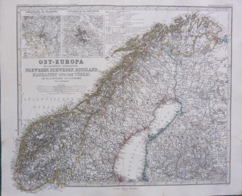 1870 DATED MAP ~ NORWAY FINLAND etc STOCKHOLM ~ ADOLF STIELER HAND COLOURED