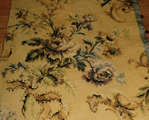 Antique French Roses Floral Tapestry Jacquard Fabric ~Blue Lavender Ochre Olive