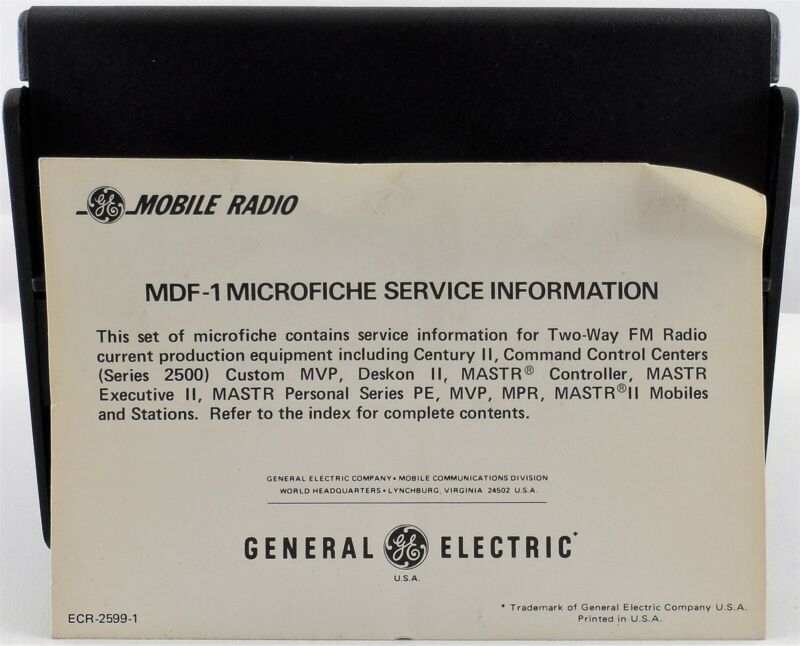 General Electric MDF1 Microfiche Service Information DataFile with Case