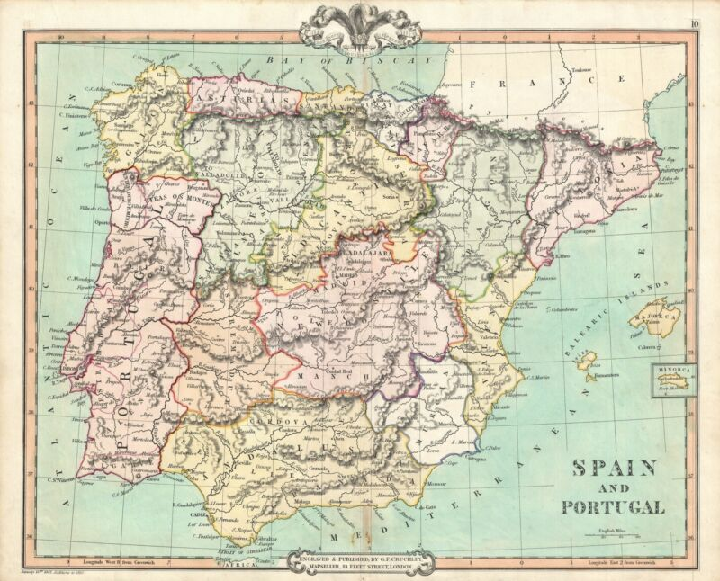 1850 Cruchley Map of Spain and Portugal
