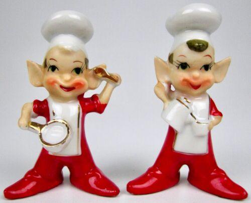Vintage Red Pixie Pixies Chef Cooking Kitchen Elf Elves Ceramic Kitsch MCM Retro