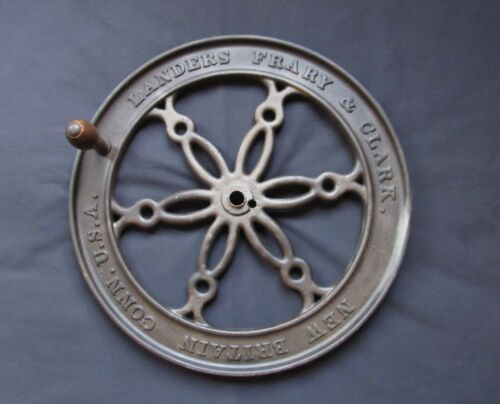 "Antique 17"" Landers Frary & Clark Cast Iron Coffee Grinder Wheel New Britain CT"