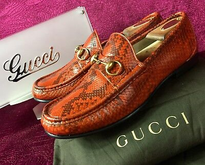 9570f7f99 Mens Pumpkin Python Gucci Snakeskin Loafers Sz 8.5 G / 9.5 US Made In ITALY