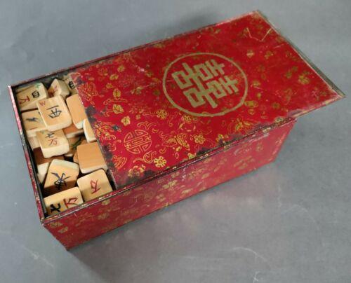 Early 20th C. antique Mahjong set in original metal box, 148 bamboo tiles, etc.