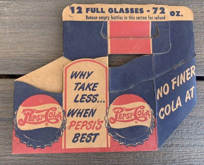 Vtg 1940s PEPSI COLA Cardboard CARTON Carrier DOUBLE DOT