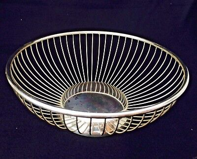 "ANTIQUE SILVER PLATE 8"" ROUND BREAD BASKET 1960's Era MADE IN ITALY"