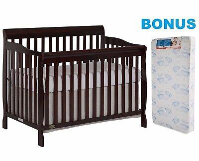 Convertible Crib with BONUS Mattress 5-in-1 Bed Baby Furniture Nursery Bedroom