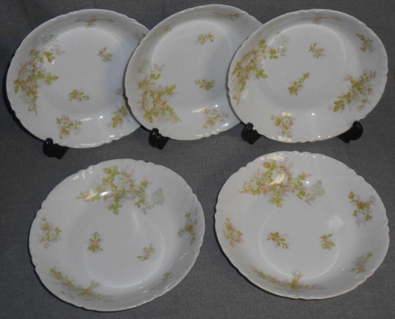 Haviland Porcelain BRETAGNE PATTERN Set (5) Coupe Soups LIMOGES FRANCE