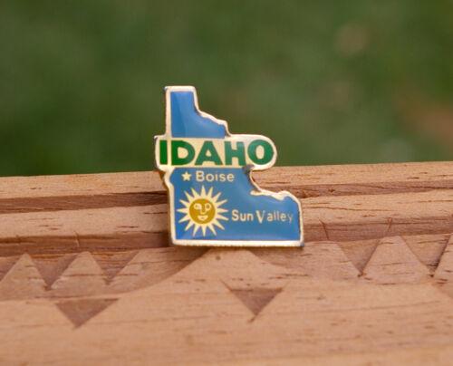 "Idaho State Boise Sun Valley 7/8"" Gold Tone Metal & Enamel Lapel Pin Pinback"