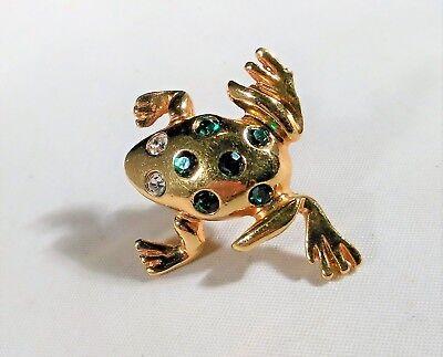 Vintage Bullfrog Frog Avon Tie Tack Lapel Pin Gold Tone Rhinestone Jumping Champ