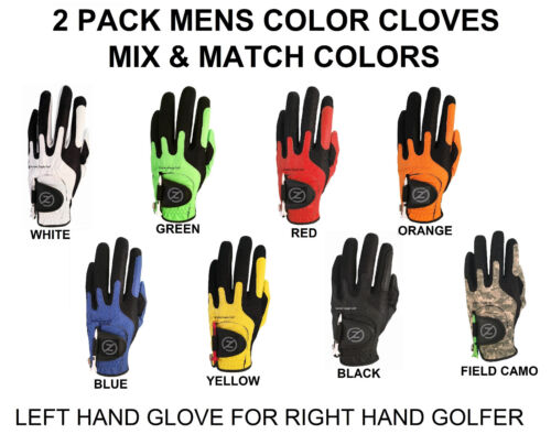 Zero Friction Compression-Fit Golf Glove 8 Color One Size Fits All 2 Pack