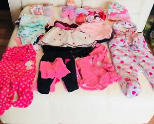 43 assorted size 0-3 month's girl's clothes & accessories