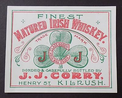 Vintage 1950's Matured Irish Whiskey Label Fine St Kilrush  Bind3#04