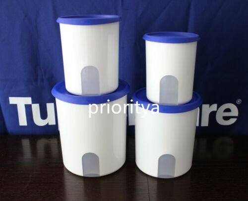 Tupperware One Touch Reminder Canisters Container Set 4 Sapphire Blue Seal New