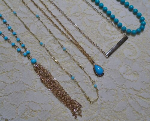 ASSORTED TURQUOISE BLUE BEADED PENDANT GOLD TONE CHAIN NECKLACE LOT