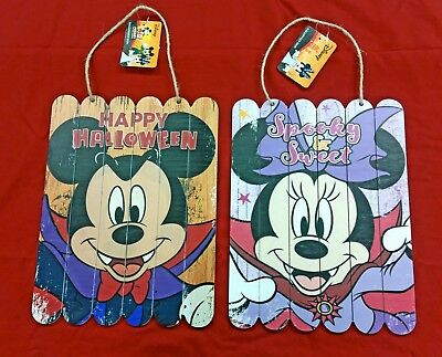 Two DISNEY Wooden Halloween Signs ft. Vampire Mickey & Minnie Mouse (9