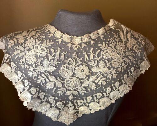 Victorian cape collar pelerine Brussels bobbin lace applique COSTUME COLLECT