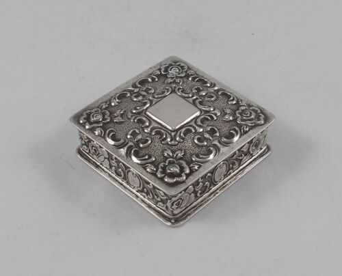 Rare Stylish Jewellery Pill Container With Rosenmotiven 835er Silver A.Bodemer