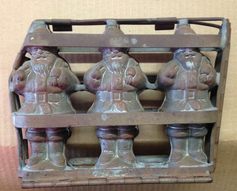 Antique Chocolate Mold SantaClaus Metal Commercial Chocolatier Rare