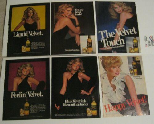 Black Velvet Canadian Whisky Lot of 6 Lady Vintage Print Ads 1970