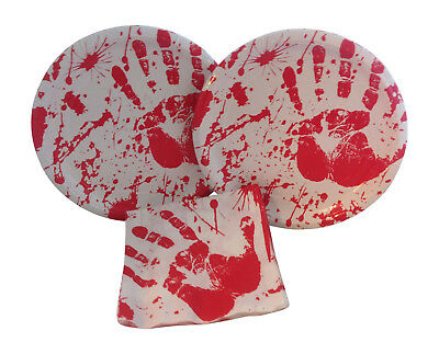 Halloween Bloody Handprint Crime Scene Party Paper Dinner Plates Napkins For 16](Halloween Paper Plates)
