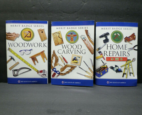 3-pc Woodwork Woodcarving Home Repairs Merit Badge Books Boy Scouts America BSA
