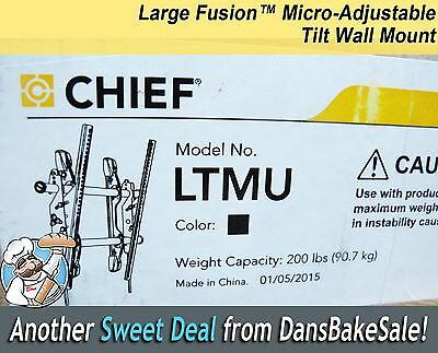 Chief LTMU Black Large Fusion™ Micro-Adjustable Tilt Wall Mount New Unopened Box Chief Tilt Wall Mount