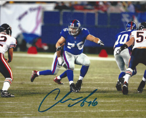 New York Giants Chris Snee autographed  8x10 color action photo vs Chicago Bears