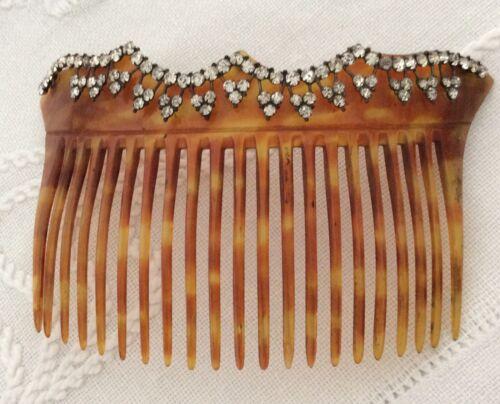 Antique Edwardian faux tortoiseshell celluloid hair comb w paste decoration