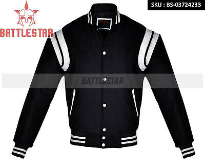 LEATHER STRIPES STYLISH WOOL VARSITY LETTERMAN/ BOMBER/ BASEBALL BLACK -