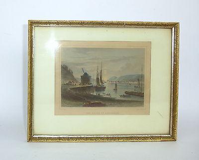 Kolorierter Stahlstich von Georg Michael Kurz  Der Hafen zu Andernach 19 Jh.