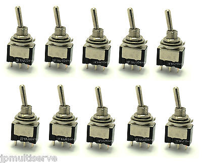 10 Spdt Onoffon Miniature Black Toggle Switch
