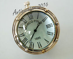 Vintage Collectible Table Top Brass Mark Polo Desk Clock Beautiful Chrome Finish
