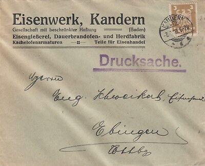 KANDERN, Briefumschlag 1927, Eisenwerk GmbH Eisengiesserei Dauerbrandofen