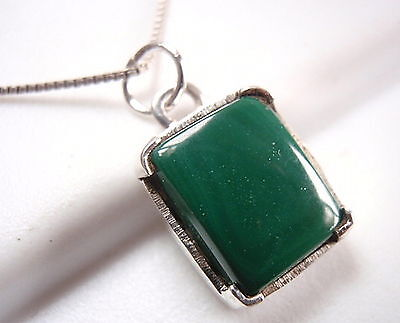 Four-Pronged Malachite Pendant 925 Sterling Silver Rectangle New