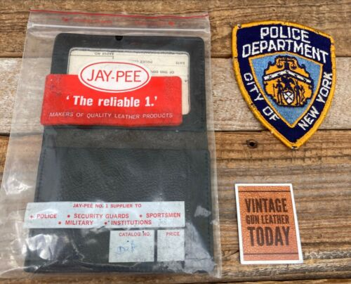 Vintage Jay Pee Black Leather Badge ID Wallet For NYPD Detective Shield New York