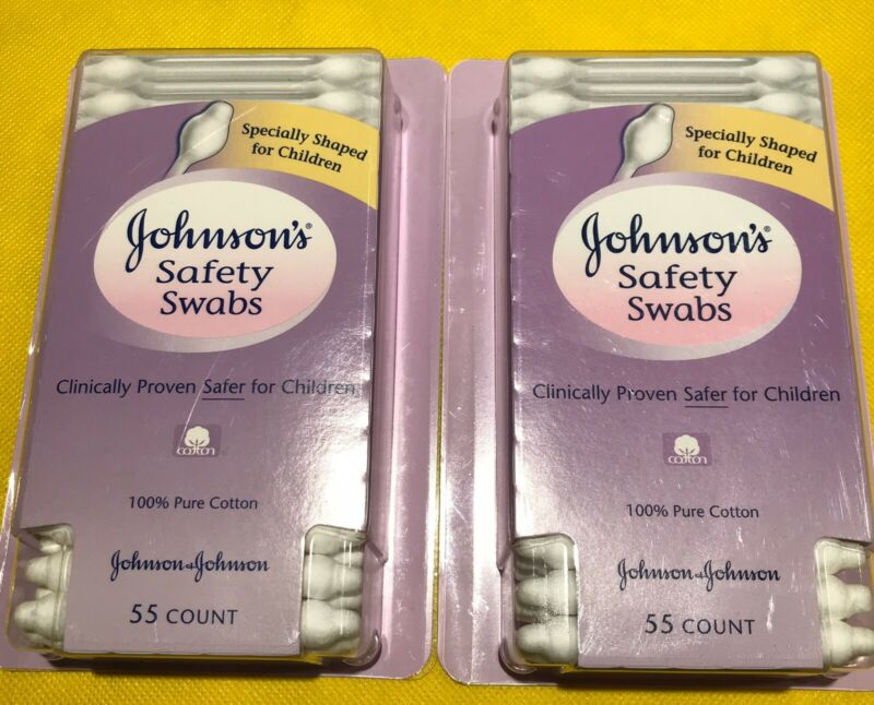 (2) FREE SHIPPING Johnson's BABY Safety Swabs 55 Count. NIB. 100% Pure Cotton.
