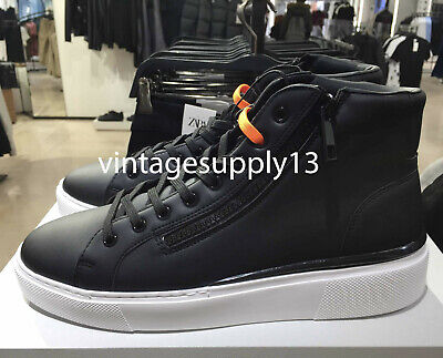 ZARA NEW MAN BLACK HIGH-TOP SNEAKERS WITH ZIP SHOES 39-45  2110/520