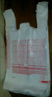 50ct Large 16 Thank You T-shirt Plastic Grocery Shopping Bags With Handle