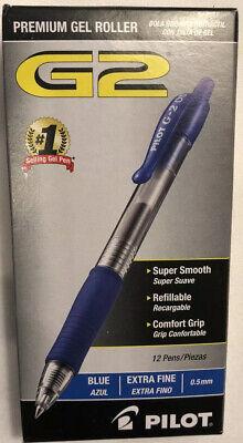 12 Count Pilot G2 0.5mm Roller Ball Retractable Gel Pen Blue 12 Pack Ink Pens